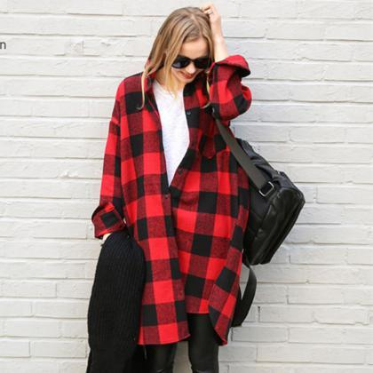 Women Loose Plaid Long-Sleeved Jack..
