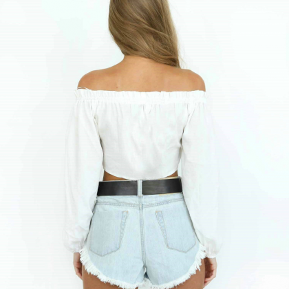 Ruffled Off-The-Shoulder Long Sleev..