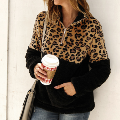 Design Long Sleeve Leopard Stitchin..