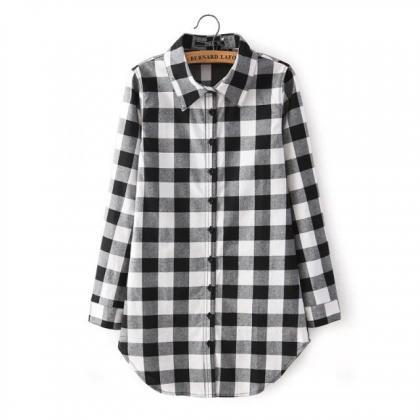 Long Sleeve Plaid / Gingham Shirt D..