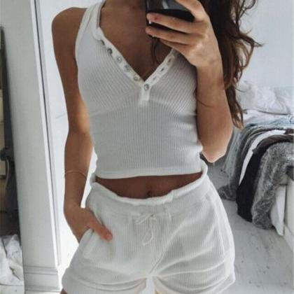 Fashion White Two-Piece Shorts