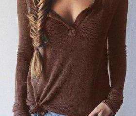 Brown Ribbed Knit Lo..