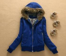 Hat fur collar coat ..