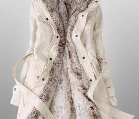 Beige Parka With Fau..