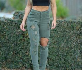 FASHION HOLE JEANS L..
