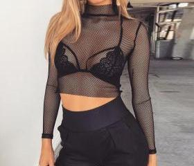 Black Fishnet Mesh L..