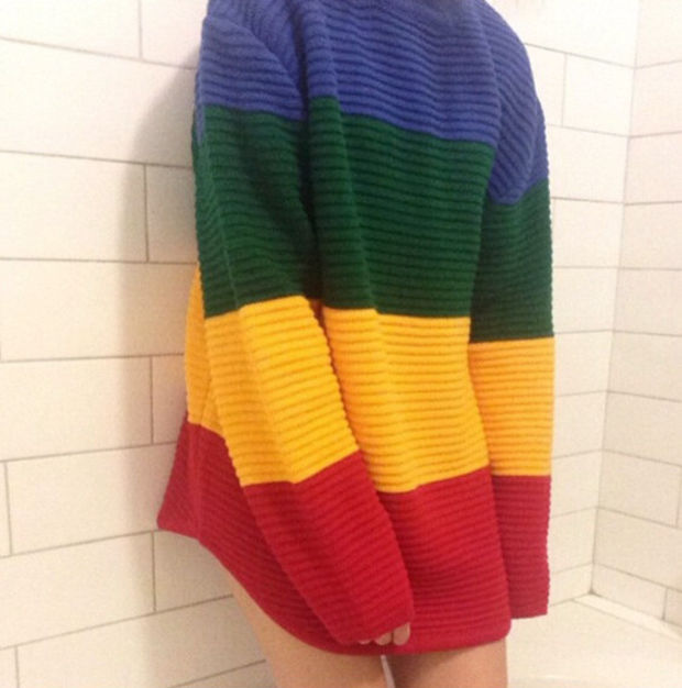 8597f358f74 Rainbow Striped Knit Sweater on Luulla