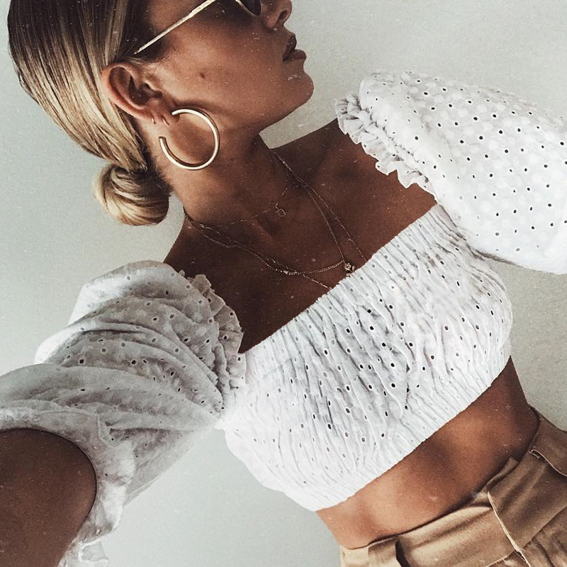 White Square Neck Ruffle Eyelet Crop Top with Mid-Length Puff Sleeves
