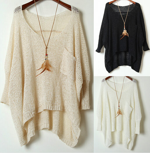 Simple Round Neck Sweater Loose Bat Perspective #092313AX