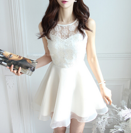 Slim sleeveless lace dress #092921AD