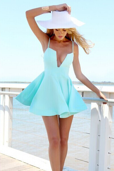 Sexy Fashion Boho Womens Deep-V Neck Swimwear Summer Casual Bandage Beach Dress