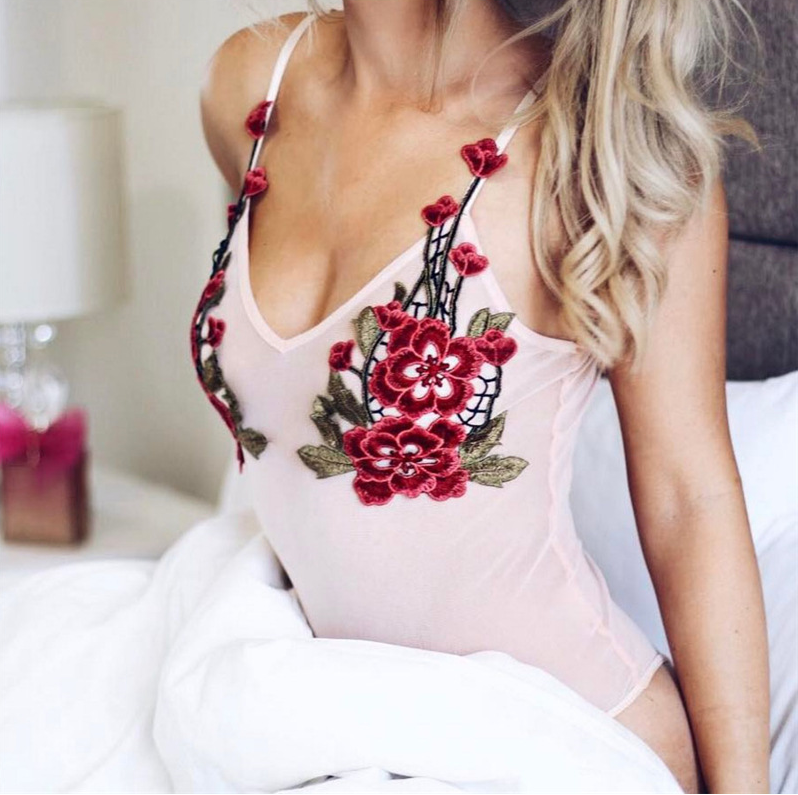 Light Pink Plunge V Floral Embroidered Bodysuit