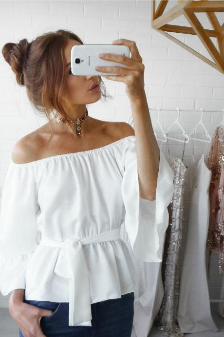 Off-The-Shoulder Chiffon Belted Blouse with Flounced Sleeves