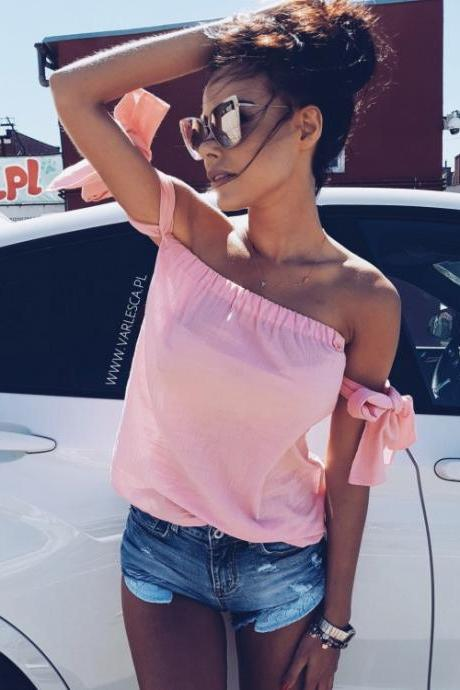 Bow Accent Sleeved Off-The-Shoulder Top