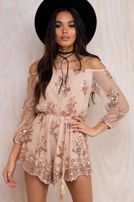 Party Jumpsuit Women Sexy Slash neck Gold Sequins Lace Romper overalls Fashion long Sleeve club playsuit