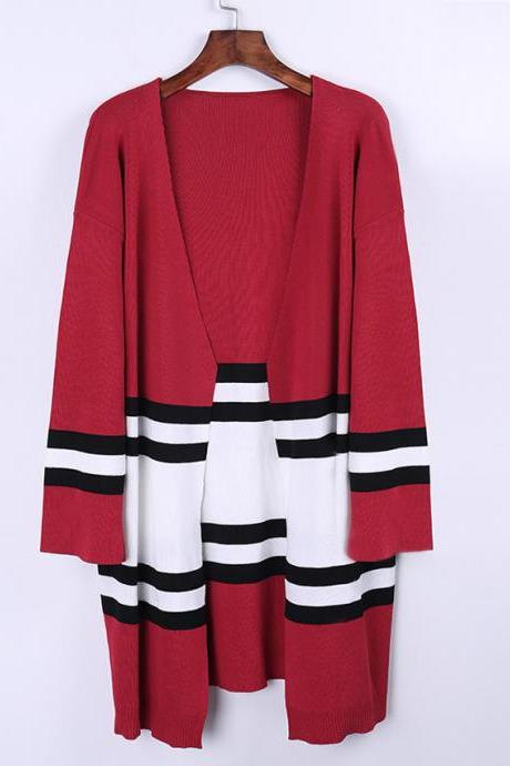 Women Knitted Loose Cardigan Sweater Coat