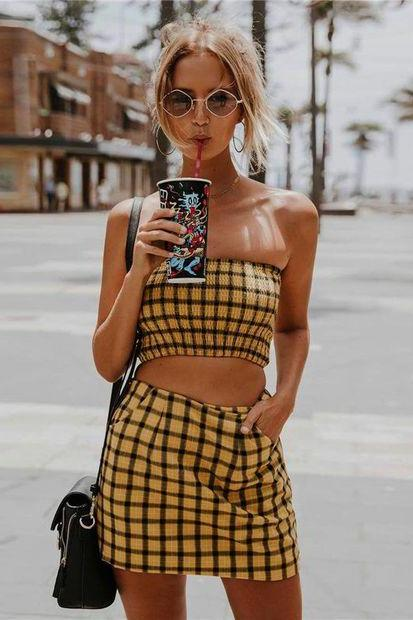 Two-Piece Set with Strapless Smocked Top with Skirt in Plaid
