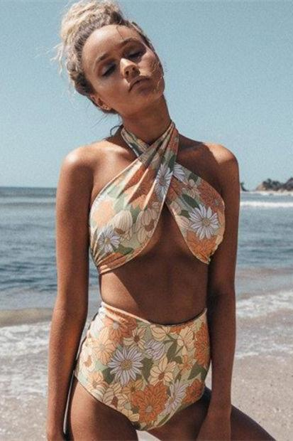 Fashion Multicolor Flower Print Crisscross Bandage Halter High Waist Bikini Set Swimsuit Swimwear