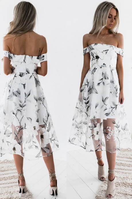 Women'S Printing Organza Dress