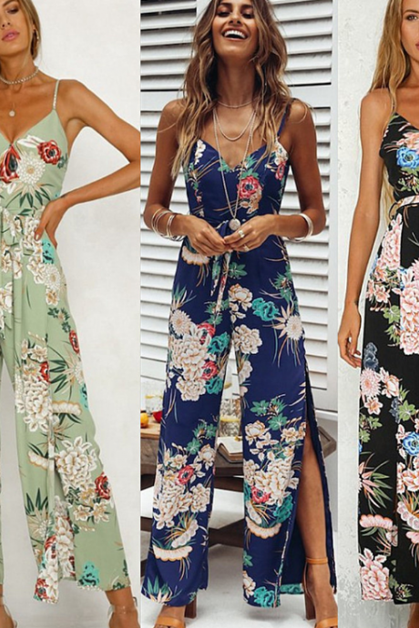 Women'S Sexy V-Neck Strapless Printed Jumpsuit