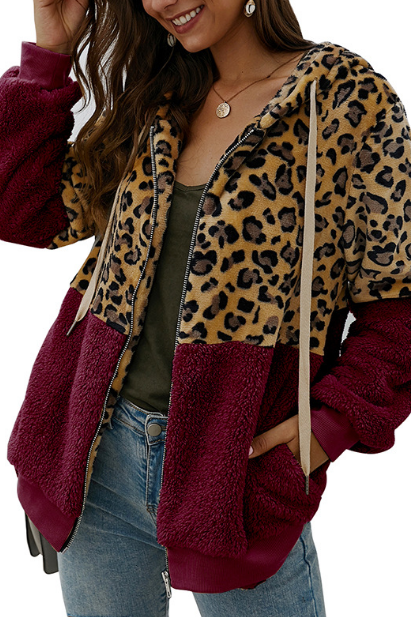 Casual Women Long Sleeve Thick Cardigan Leopard Jacket