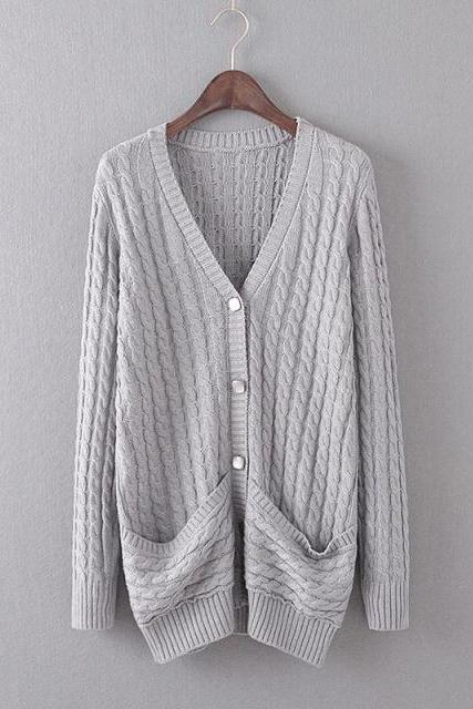Casual long-sleeved V-neck knit cardigan sweater coat #11102AD
