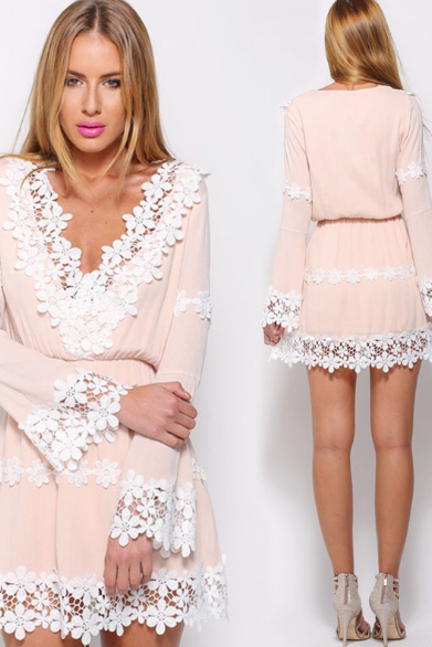 Light Pink Floral Lace Plunge V Long Flare-Sleeved Short Chiffon Dress