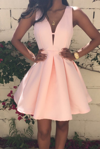 Plunge V Sleeveless Short Ruffled Skater Dress