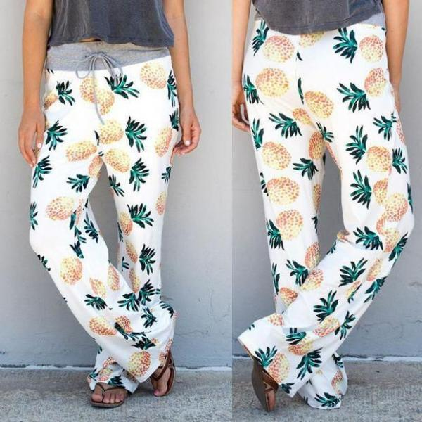ae5fd33b99 ... Bikini Set 2018 Casual High Waist Pineapple Pants ...