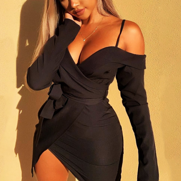 Irregular Bowknot Sling Long Sleeve Dress