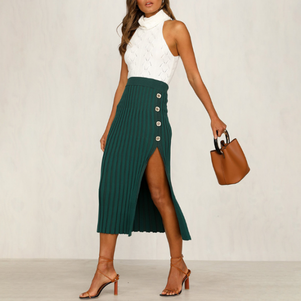 Fashion Solid Color Button Sexy Hip Skirt