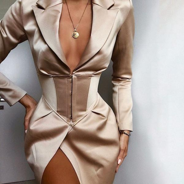Solid Color V-Neck Long Sleeve Irregular Slim Jacket