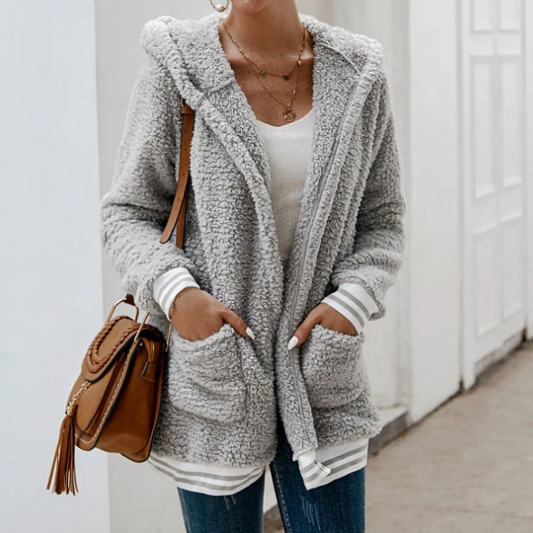 Women'S Long-Sleeved Hooded Cardigan Jacket
