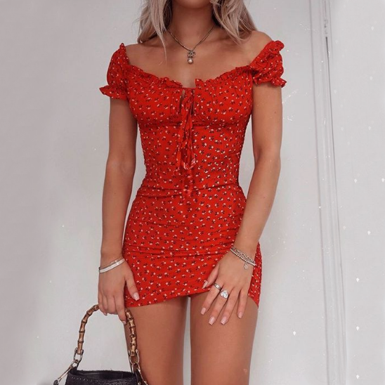 Slim Sexy Women Print Dress