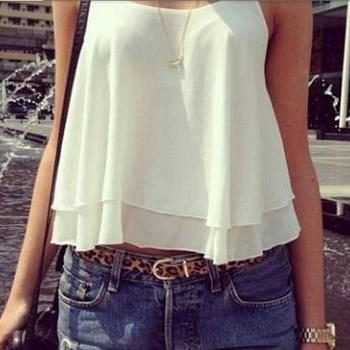 Suspenders sexy fashion ladies sleeveless vest chiffon blouse #091103AK