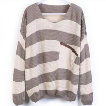 Thick Striped Shirt Bat Loose Pullover Knitted Fake Pocket #092311AD