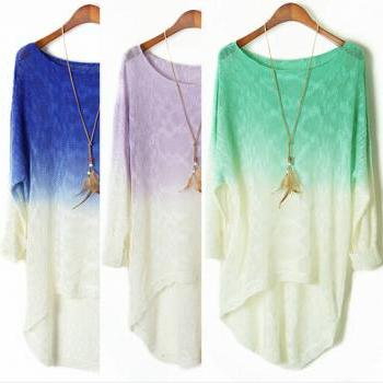 Dye Gradient Long-Sleeved Bat Dovetail Sweater #092312AD