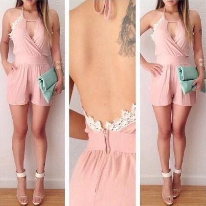 Pink Backless Jumpsuits #102820AD