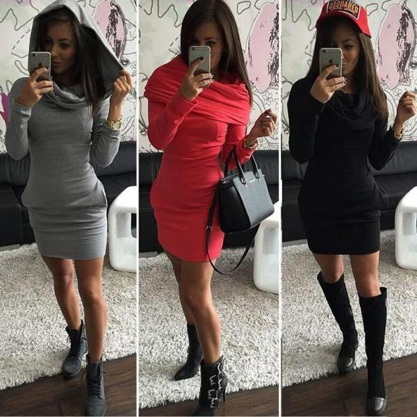 SLIM PACKAGE HIP LONG-SLEEVED DRESS