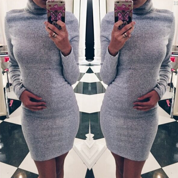HIGH-NECKED LONG-SLEEVED PACKAGE HIP DRESS